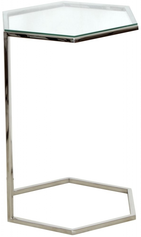 Hexa Stainless Steel Chrome and Glass Sofa Side Table