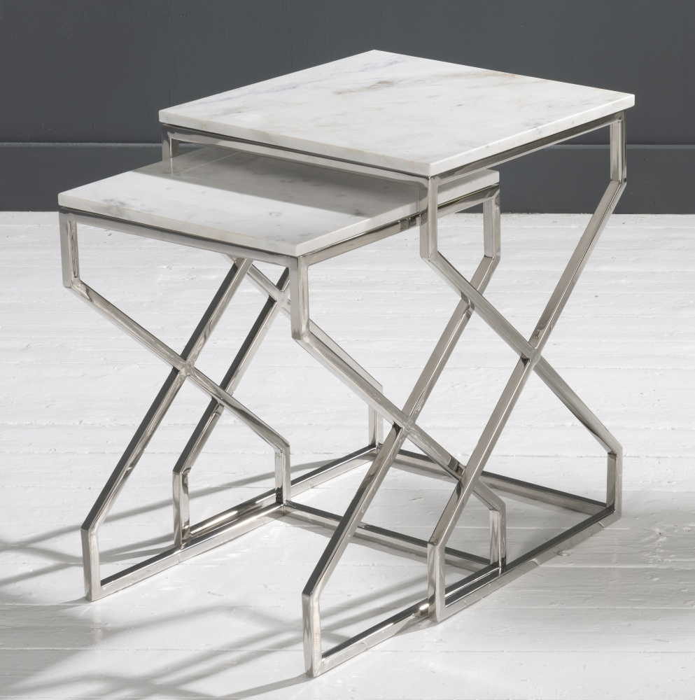 Crossroad White Marble and Steel Nest of Tables
