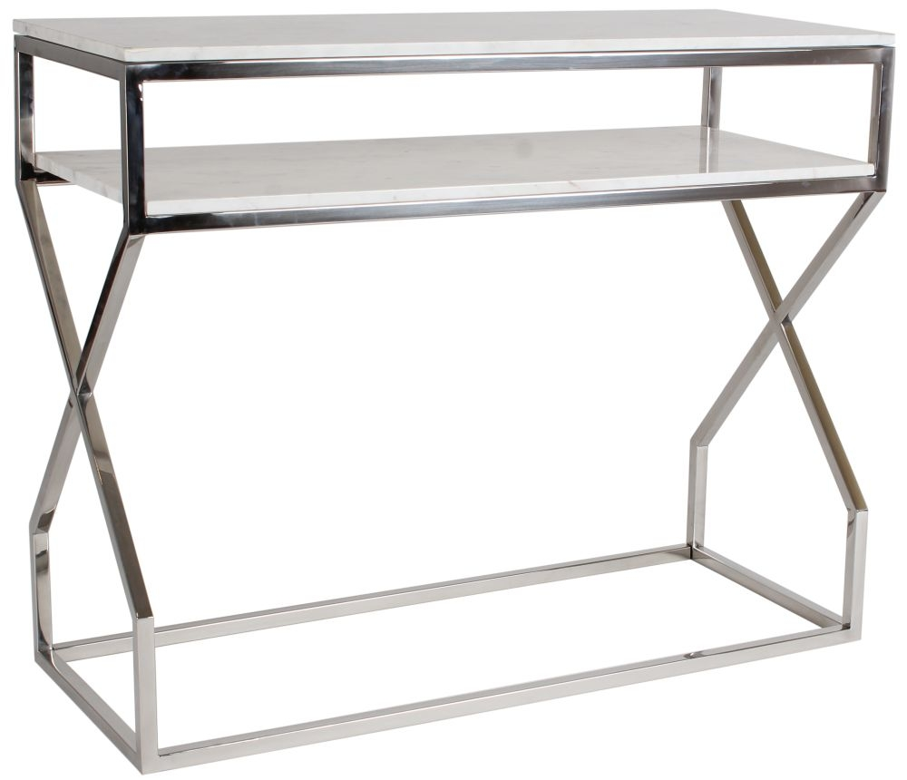 Crossroad White Real Marble and Stainless Steel Chrome Console Table