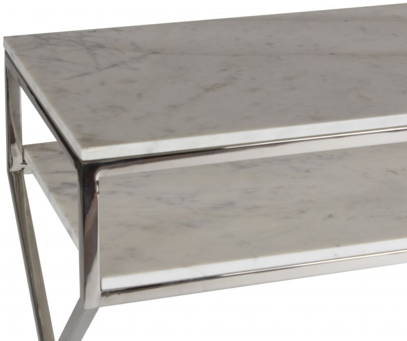 Crossroad White Marble and Steel Console Table