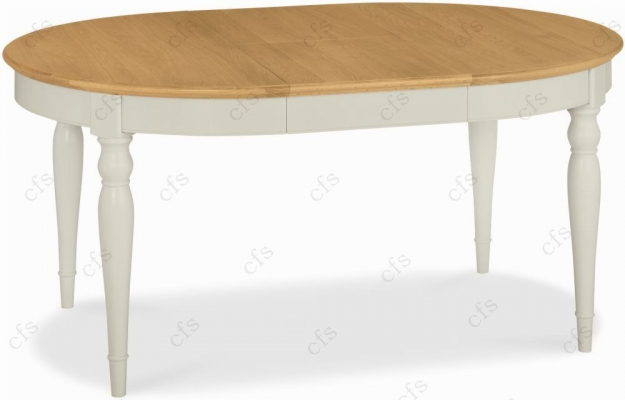 Bentley Designs Hampstead Soft Grey and Oak Dining Table - 4-6 Seater Extending
