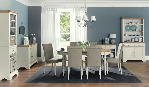 Bentley Designs Hampstead Soft Grey and Oak Dining Table - 6-8 Seater Extending