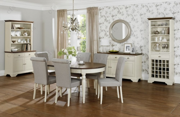 Bentley Designs Hampstead Soft Grey and Walnut Oval Extending Dining Table - 181cm-231cm