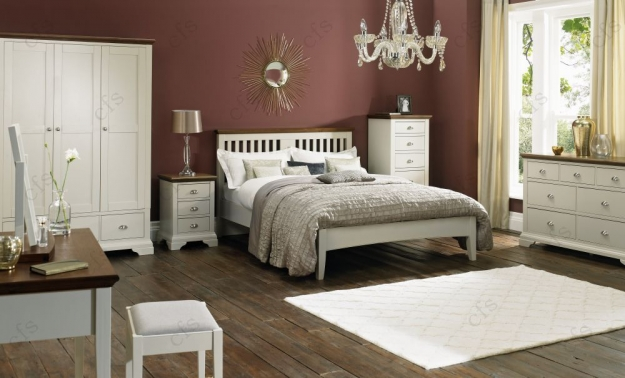 Bentley Designs Hampstead Soft Grey and Walnut Bedstead - Slatted