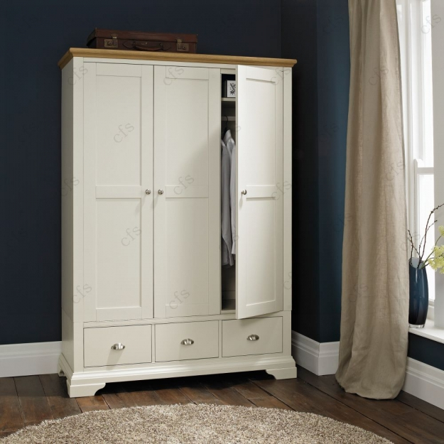 Bentley Designs Hampstead Soft Grey and Oak Wardrobe - Triple