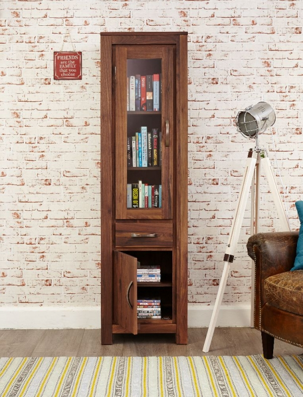 Baumhaus Mayan Walnut Glazed Bookcase - Narrow
