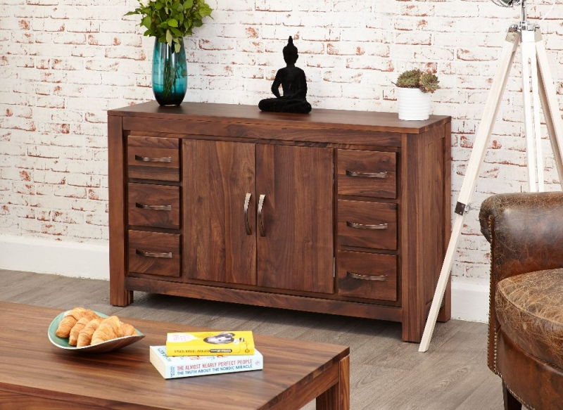 Baumhaus Mayan Walnut Sideboard - 6 Drawer Wide