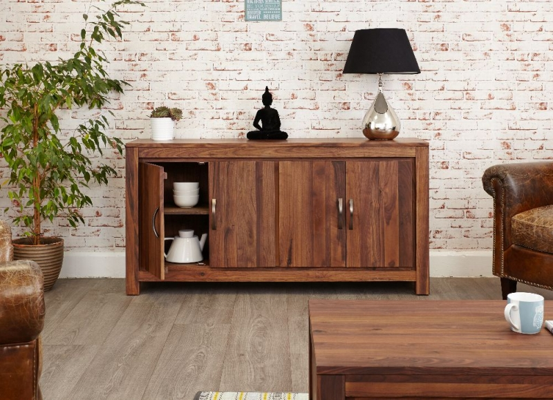 Baumhaus Mayan Walnut Sideboard - 2 Door Large