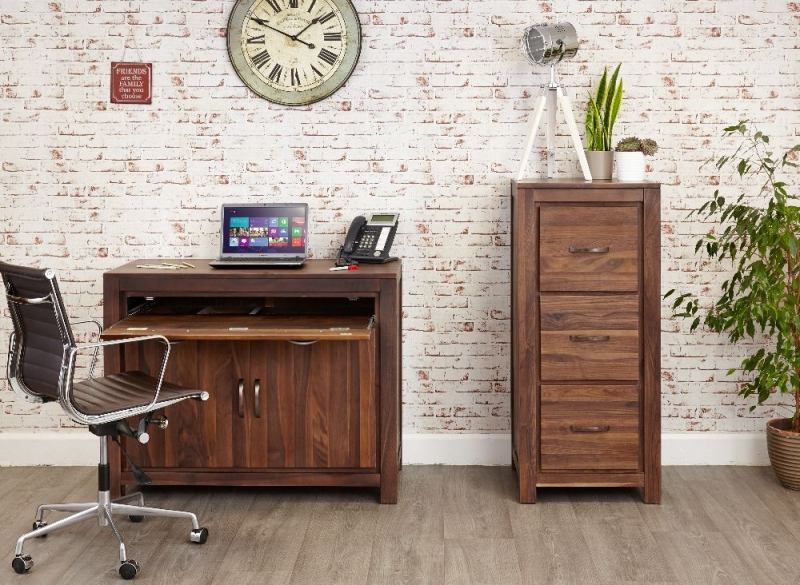 Baumhaus Mayan Walnut 2 Door Hidden Computer Desk