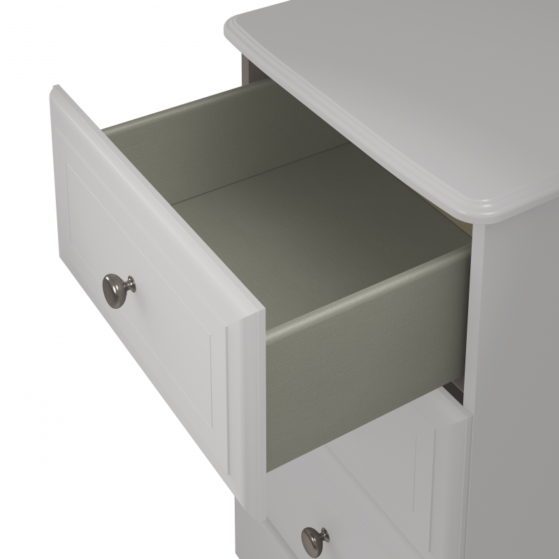 Kingstown Nicole White Bedside Cabinet - 2 Drawer