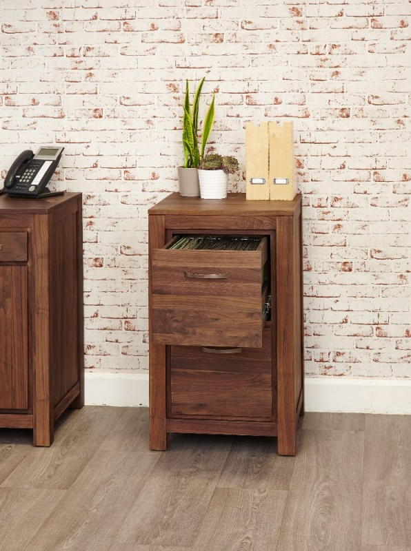 Baumhaus Mayan Walnut Filing Cabinet - 2 Drawer