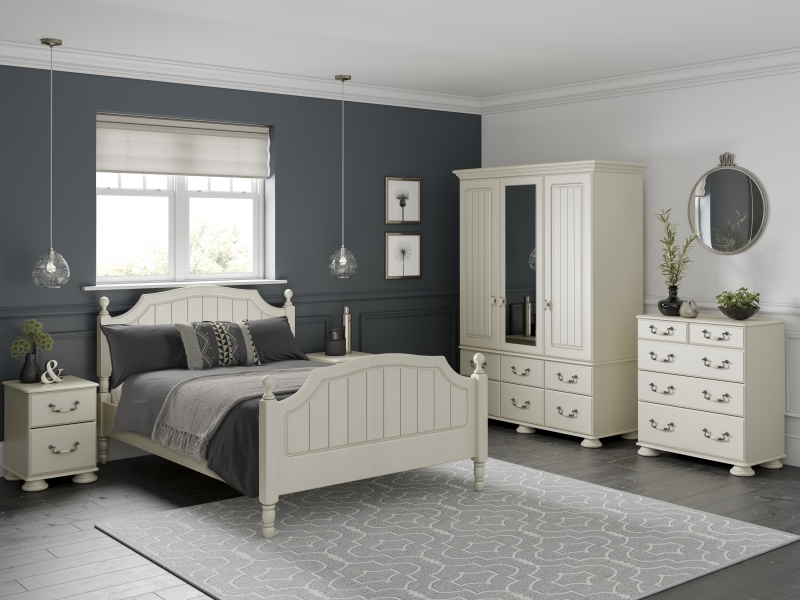Kingstown Signature Washed Cream Wardrobe - 3 Door and 6 Drawer with Centre Mirror Combi