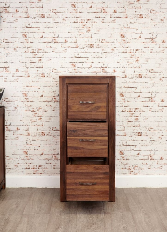 Baumhaus Mayan Walnut Filing Cabinet - 3 Drawer