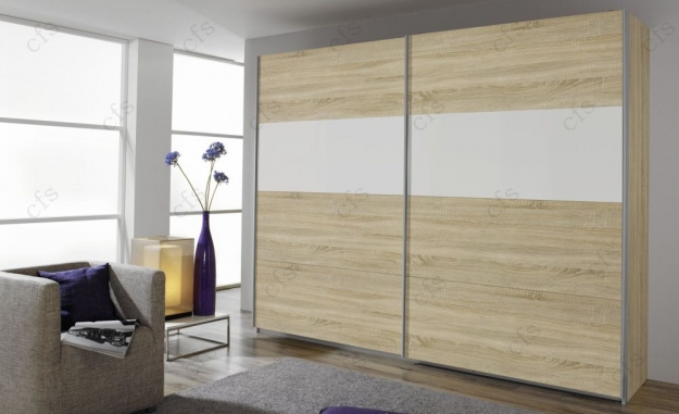 Rauch Quadra Extra Sliding Wardrobe - Front and Application Wood Decor