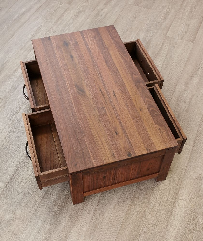 Buy baumhaus mayan walnut coffee table low 4 drawer for Walnut coffee table