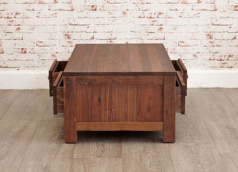 Baumhaus Mayan Walnut Coffee Table - Low 4 Drawer