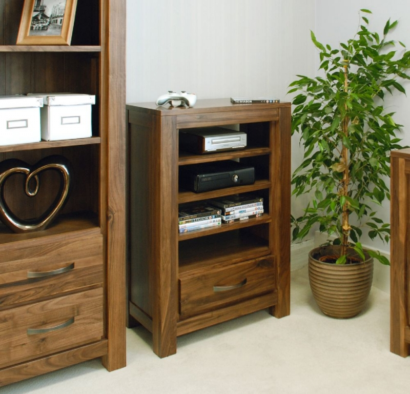 Baumhaus Mayan Walnut 1 Drawer Entertainment Storage Unit