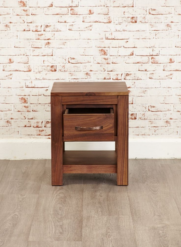Baumhaus Mayan Walnut Lamp Table - 1 Drawer