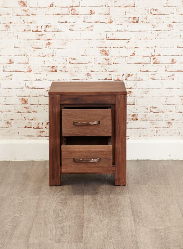 Baumhaus Mayan Walnut 2 Drawer Lamp Table