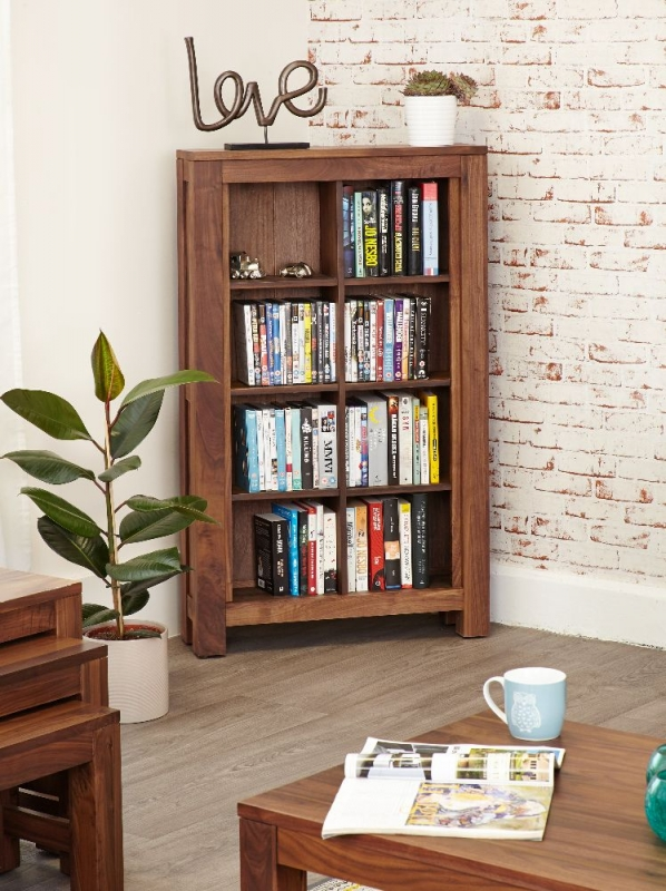 Baumhaus Mayan Walnut CD and DVD Storage Cabinet - Open