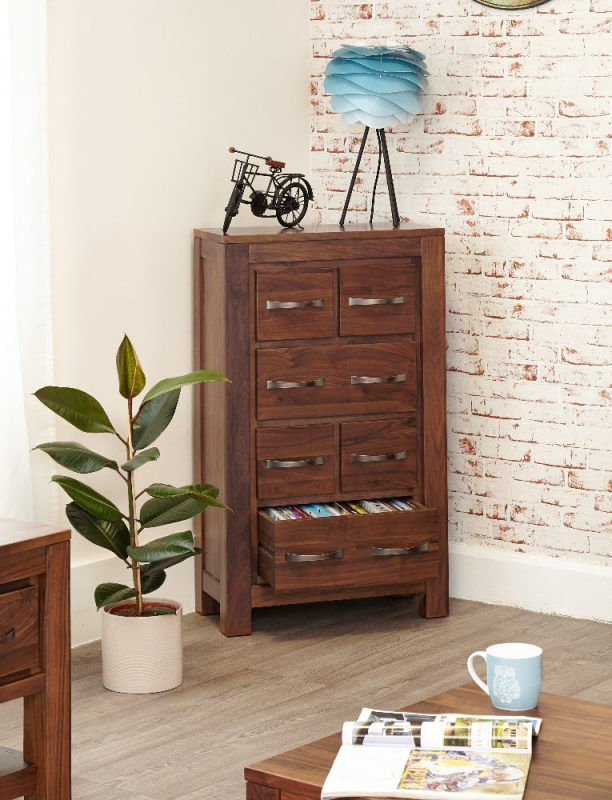 Baumhaus Mayan Walnut 6 Drawer CD and DVD Cabinet