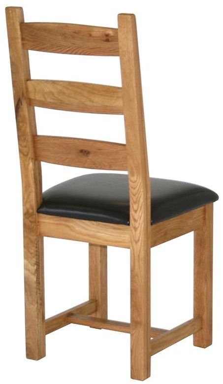Vancouver Select Oak Horizontal Slats Dining Chair with Faux Leather Seat (Pair)