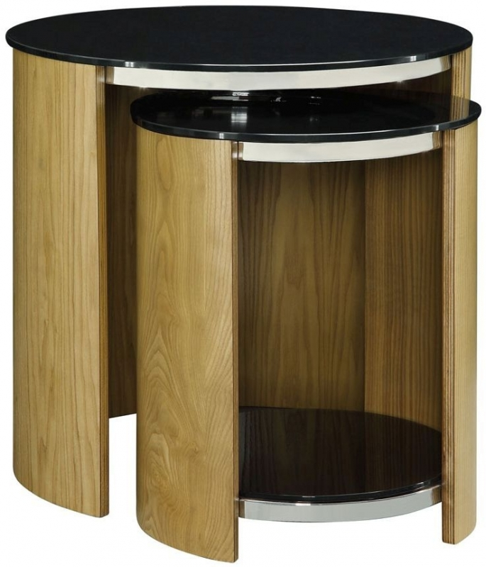 Jual Curve Oak Nest of Table - Glass JF305