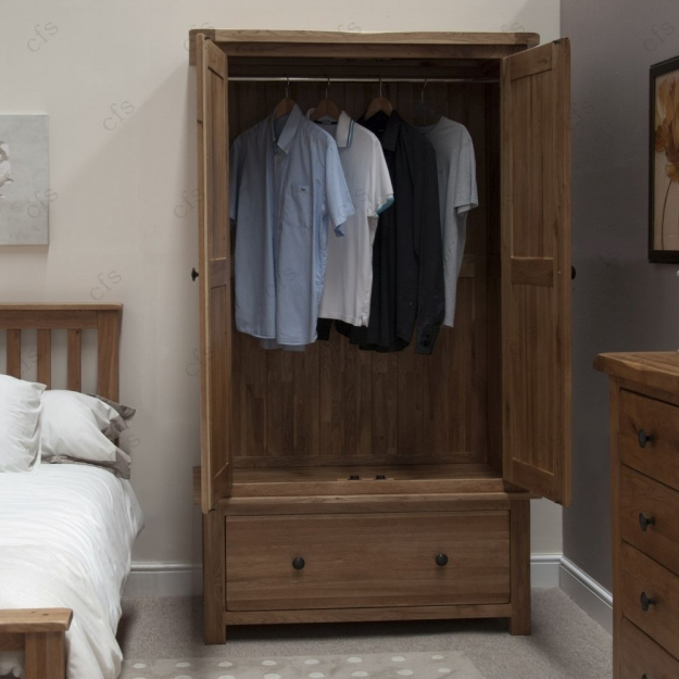Homestyle GB Rustic Oak Wardrobe - Gents