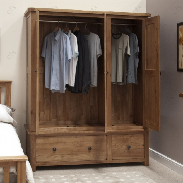 Homestyle GB Rustic Oak Wardrobe - Triple