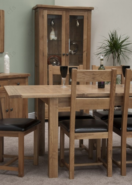 Homestyle GB Rustic Oak Dining Set - Extending with 6 Rustic Leather Seat Chairs