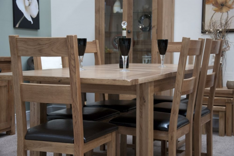 Homestyle GB Rustic Oak Extending Dining Set and 6 Rustic Leather Seat Chairs