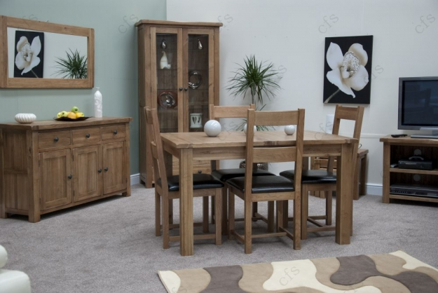 Homestyle GB Rustic Oak Dining Set - Extending with 4 Rustic Leather Seat Chairs