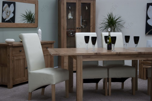 Homestyle GB Rustic Oak Dining Set - Extending with 4 Richmond Ivory Chairs