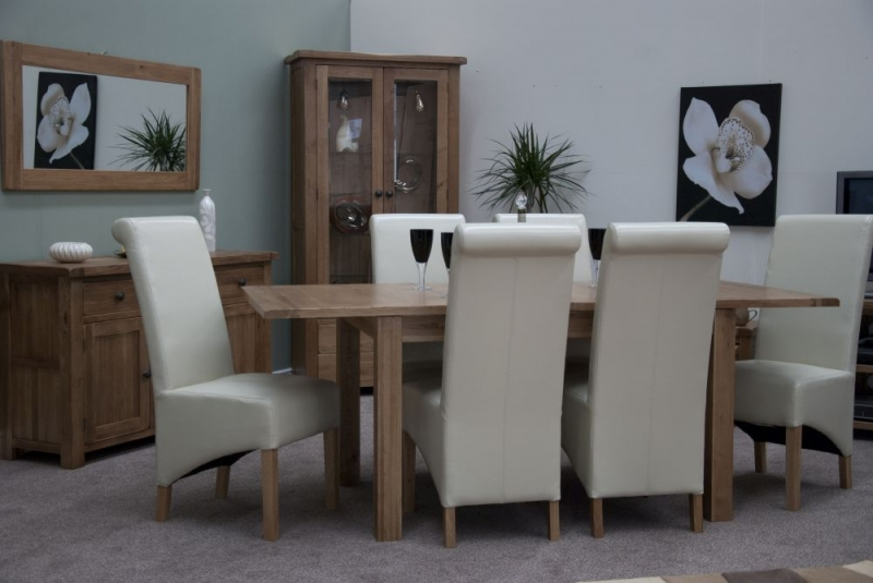 Homestyle GB Rustic Oak Extending Dining Set and 6 Richmond Ivory Chairs