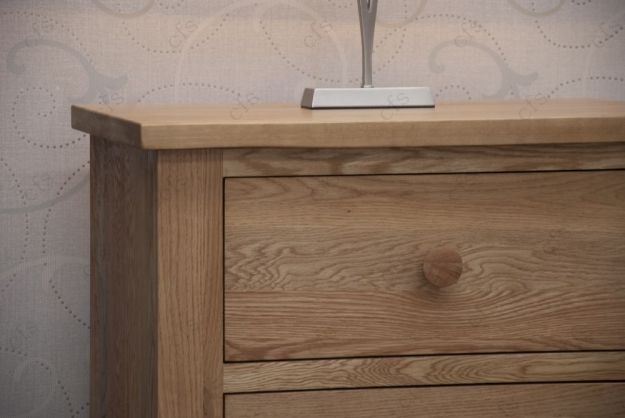 Homestyle GB Torino Oak Bedside Cabinet - 2 Drawer Narrow