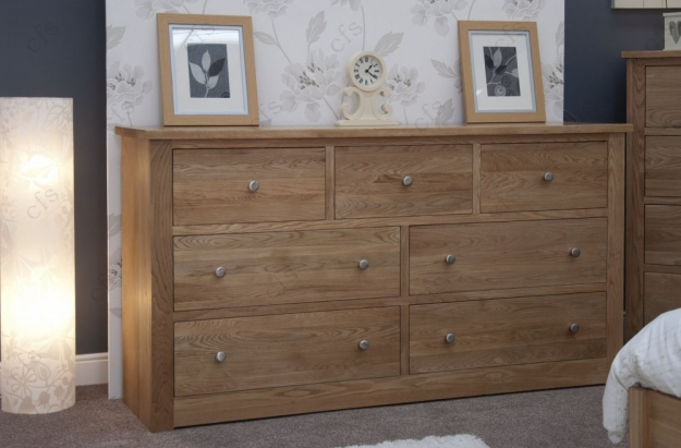Homestyle GB Torino Oak Chest of Drawer - 7 Drawer Deep