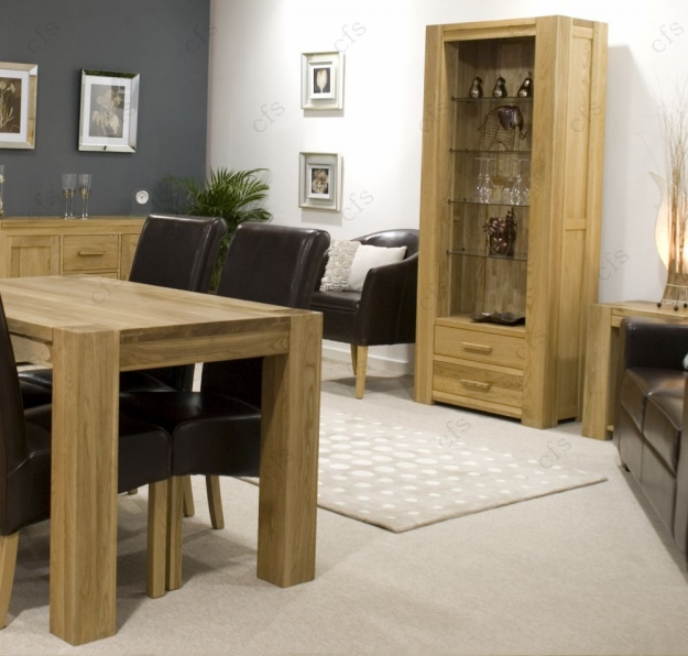 Homestyle GB Trend Oak Dining Set - Small with 4 Richmond Brown Leather Chairs