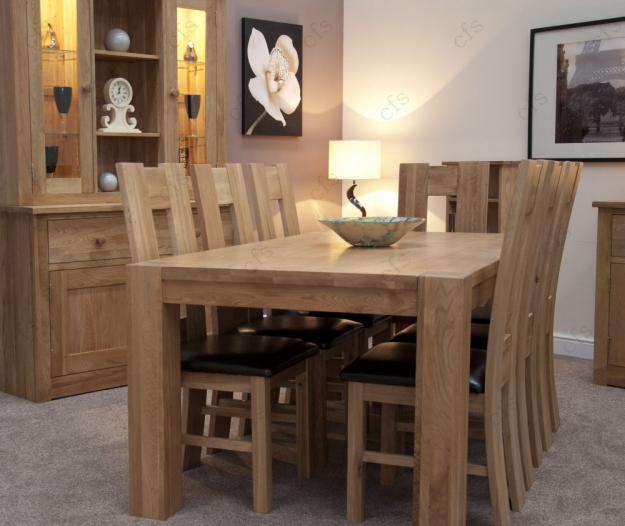 Homestyle GB Trend Oak Dining Set - Large with 8 High Bycast Leather Chairs