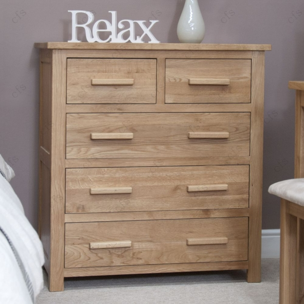 Homestyle GB Opus Oak Chest of Drawer - 2 Over 3 Drawer