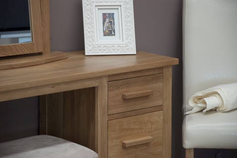 Homestyle GB Opus Oak Double Pedestal Dressing Table and Stool