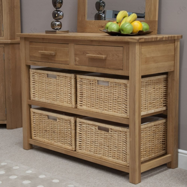 Homestyle GB Opus Oak Console Table with Basket