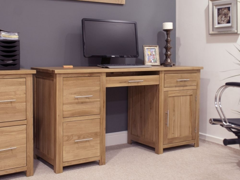 Homestyle GB Opus Oak Double Pedestal Computer Desk