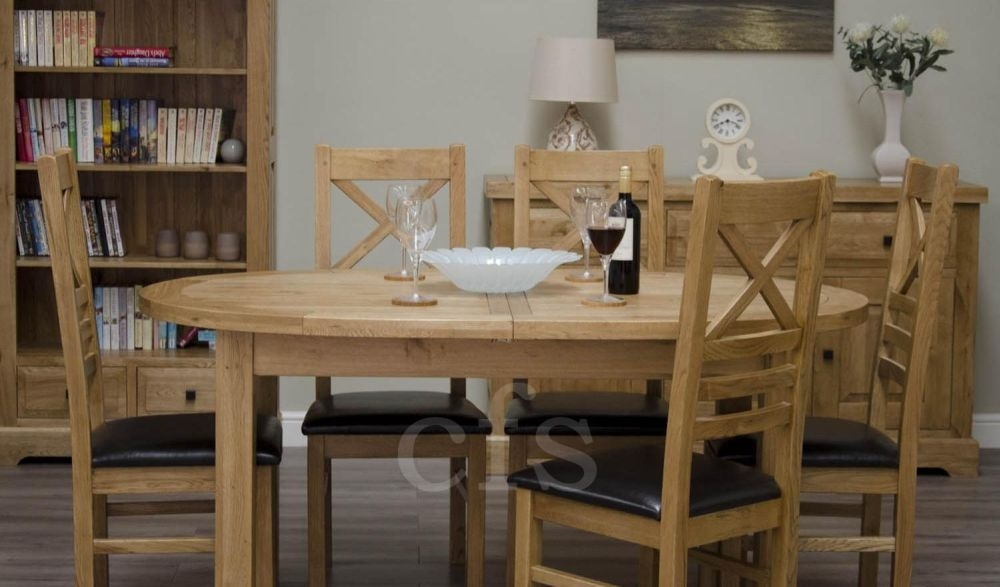 Buy Homestyle GB Deluxe Oak Dining Set Oval Extending