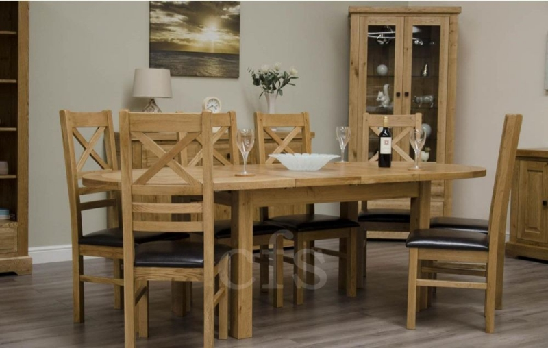 Homestyle GB Deluxe Oak Dining Set - Oval Extending with 6 Cross Back Chairs