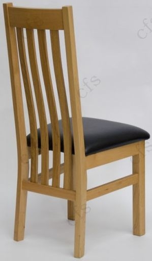 Homestyle GB Perugia Oak Dining Chair with Brown Seat Pad (Pair)