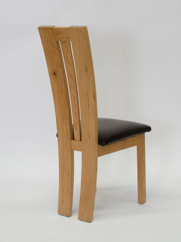 Homestyle GB Venezia Dining Chair (Pair) - Oak and Dark Brown Leather