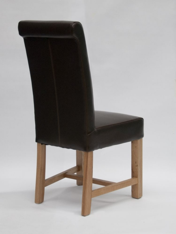Homestyle GB Louisa Dining Chair (Pair) - Brown Bycast Leather