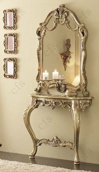 Camel Leonardo Italian Barocco Mecca Gold Console Table With Mirror