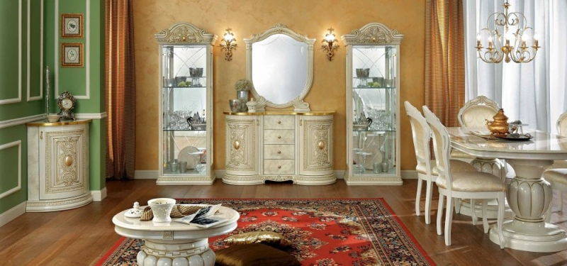 Camel Leonardo Day Ivory High Gloss and Gold Italian Buffet Sideboard