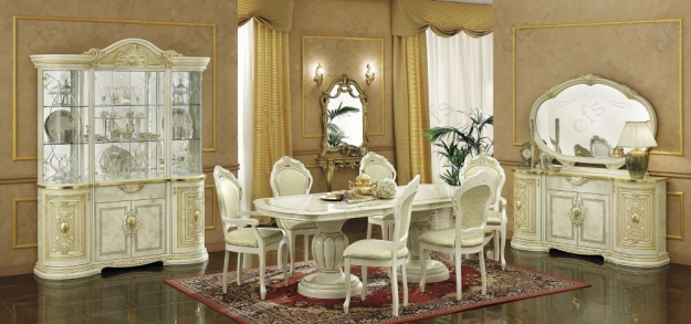 Camel Leonardo Italian Dining Set - Extending with 4 Chairs and 2 Armchairs